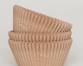 50 Pc Pretty Unbleached Natural Kraft Cupcake Liners 2X1.25 Inch Size Perfect for Parties