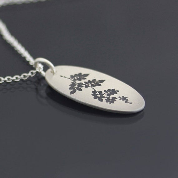 Oval Vine Branch Necklace - etched sterling silver pendant