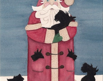 Santa on roof with his favorite scottish terrier (scottie) / Lynch signed folk art print