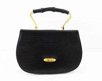 Vintage 60s Leather Purse Handbag Pressed Leather Black Mad Men