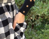 wrist wallet - black patchwork - pearl snaps - denim - western - all sizes