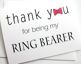 Ring Bearer Card - Thank You Ring Bearer Card with bow tie design