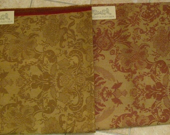 Beaumont Fletcher Marlowe Floral Damask Designer Fabric Sample WOOL Gold Red Upholstery Pick One