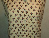 CUTEST Vintage 50s Novelty Print CRABS Sleeveless Shell Button Front Linen Blouse Top M