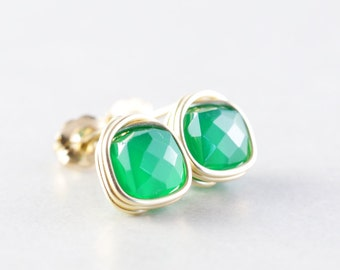 Green Onyx Studs, Cube, Square Posts, Emerald Green, Handmade