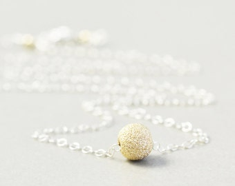 Gold Silver Ball Necklace, Metal Necklace, Bridesmaid Gift