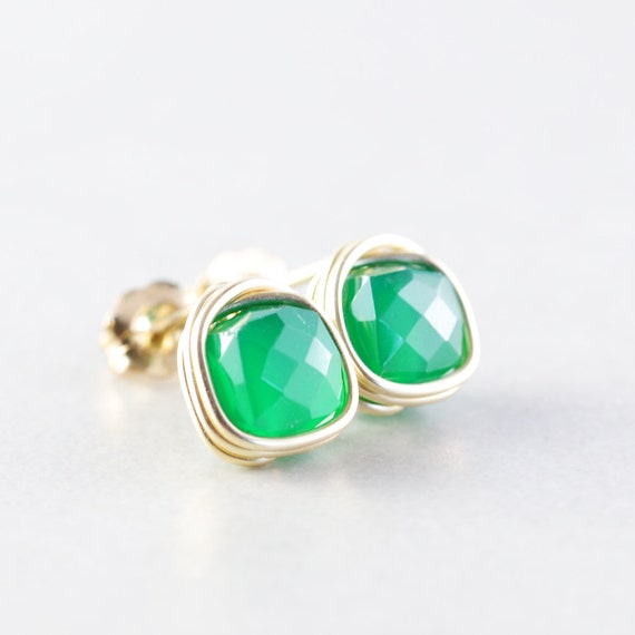 Green Onyx Studs, Post Earrings, Emerald Green Posts, Handmade