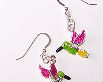 Sterling Silver HUMMINGBIRD Earrings - French Earwires