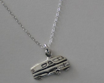 Sterling Silver RV MOTOR HOME Pendant and Chain - Trailer, Camping