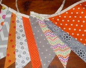 Orange gray fabric flag banner teacher classroom nursery party outdoor bunting chevron polka dot