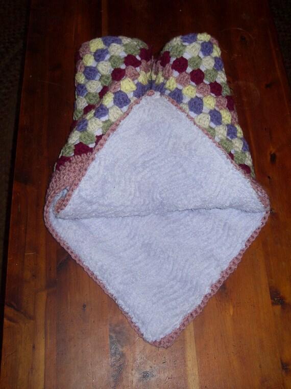 Crochet Chenille Baby Blanket Pattern : Items similar to crochet chenille baby blanket reversible ...