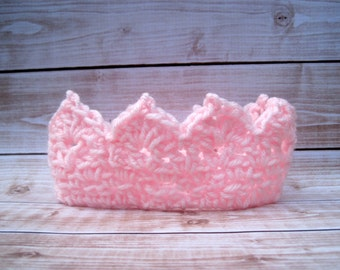 Princess Crown, Baby Photo Prop, Baby Girl Crown, Crochet Baby Crown, Newborn Girl Crown, Infant Girl Crown, Pink Crown, Newborn Crown