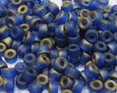 60 Matte Navy Blue Czech Glass Crow Roller or Pony Beads 9x6mm
