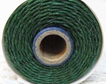 Dark Green Waxed Linen Cord 4 ply 10 yards for Macrame Kumihimo Knotting