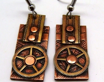 Steampunk jewelry, Steampunk earrings, Mixed metal earrings.