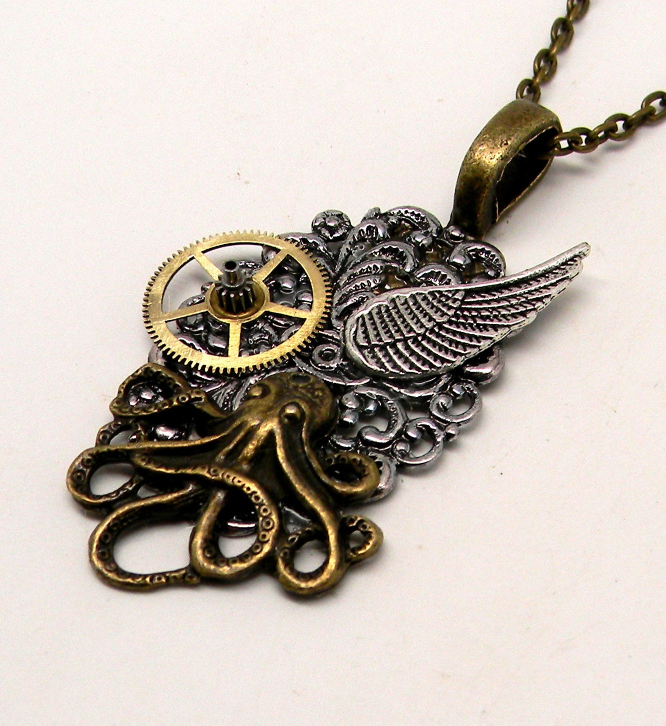 steunk jewelry octopus necklace pendant by slotzkin on