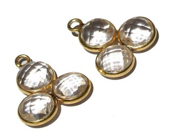 AAA Crystal Quartz 3 Faceted Coin Fancy Bezel 23mm Long 24K Gold Vermeil Over 925 Sterling Silver 1 Piece Choose Your Color
