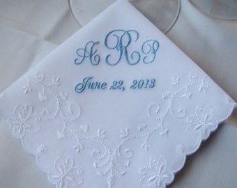 Monogrammed -Something Blue Wedding Handkerchief with Butterfly Detail