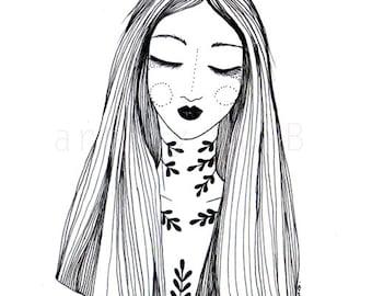 Flower Goddess. Art print. Illustration