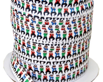 "Designer 5/8"" dancing guy Print Fold Over Elastics FOE - 5 Yards"