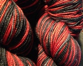 Vampyra -- Black and Red Stripe -- Hollywood Gold -- Fingering Weight - HuggyBearKnits
