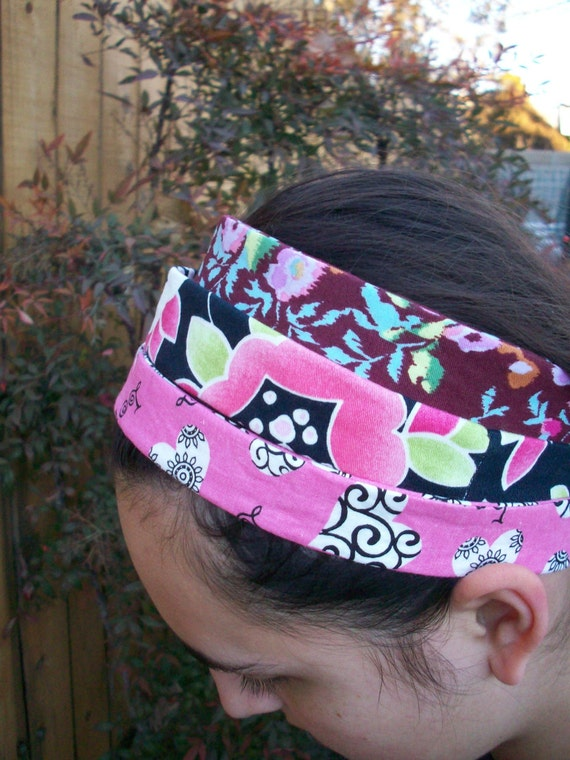 Love Hearts and Flowers Headband Wardrobe Set of Three Pink Black Wine