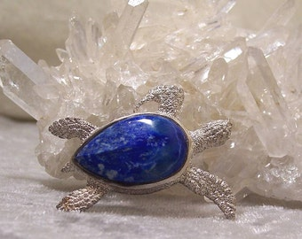 LAPIS LAZULI - Sea Turtle Centerpiece in Stone and Sterling  Silver