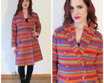 60s Mod Multi Colored Horizontal Striped Double Breasted Coat, Size Small to Medium