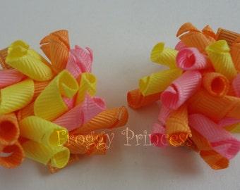 Sherbet Mini Korker Bows - Pink Orange Yellow Curlies - No Slip Hair Clippies