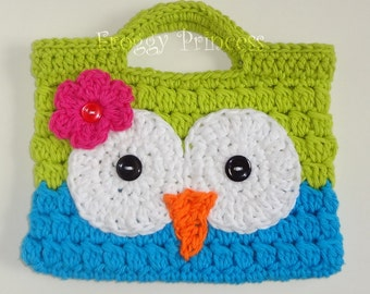 Owl Purse Green and Blue READY TO SHIP Hand Crocheted Toddler Bag Tote