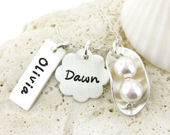 Two Peas in a Pod - Personalized - Celebrate Weddings, New Born Baby, or Best Friend - Sterling Silver Swarvoski Crystal Pearls