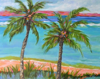 Palm Tree Painting Beach Cottage Bohemian Original Abstract 30x30 Large Coastal Landscape  Modern by Karen Fields
