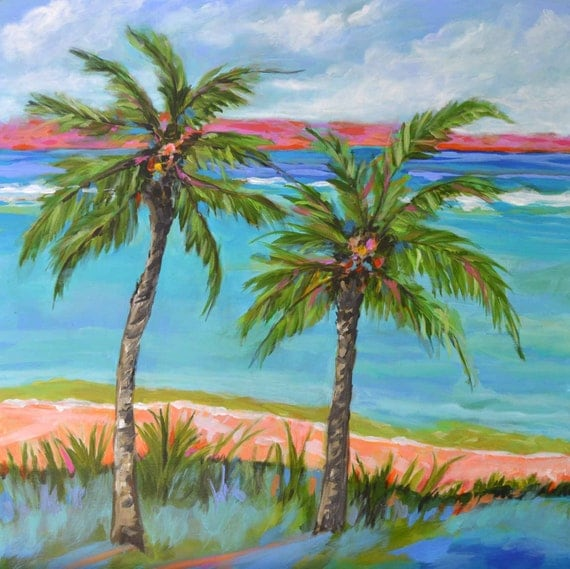 Palm tree painting beach cottage bohemian original abstract for Palm tree painting