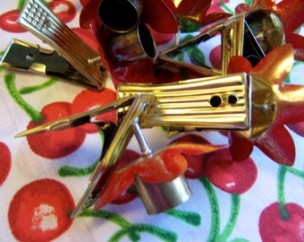 west germany metal clip on candle holders