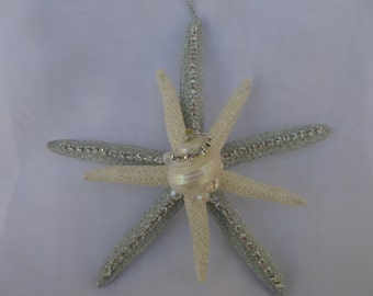 Beach  wedding/ Christmas Decor -Hand Made- Silver and white  double Star Fish Ornament