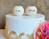"Wedding cake topper... ""i do, me too"" pumpkins...fall and autumn decor, I can paint them any color"