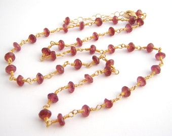 Garnet Strand Necklace, Rosary Style, Oxblood, Gold, January Birthstone, Dark Red