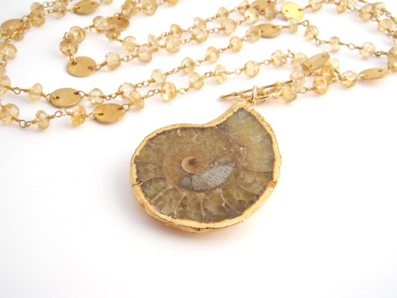 Citrine And Ammonite Pendant Necklace, Double Strand, Rosary Necklace, Gold, Brown, Statement Necklace