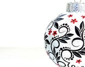 Tree Ornament Black Red and White Christmas Ornament Hand Painted