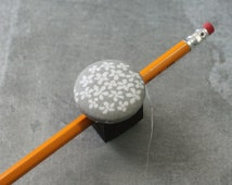 Magnetic Pen, Pencil, or Chalk Holder - Limited Design - Small White Flowers on Gray