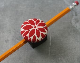 Magnetic Pen, Pencil, or Chalk Holder - Limited Design - Red Flower