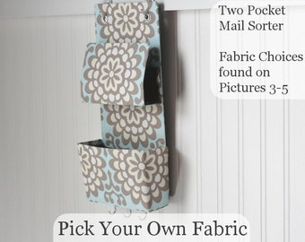 Two Pocket Mail Organizer with Key Hooks - Pick Your Own Fabric