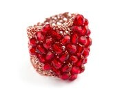 heart wire ring, handmade with many glass beads in red. red and silver wire. unique jewelry. lightweight and smooth. - goodrun