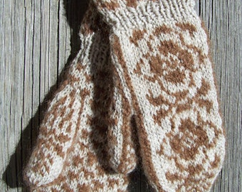 Handknit Mohair and Wool Blend Nregin Rose Design Cuff Mittens Oatmeal Beige and Rusty Red Brown