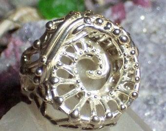 UNISEX Whirlpool Swirl Ring Handcast STERLING