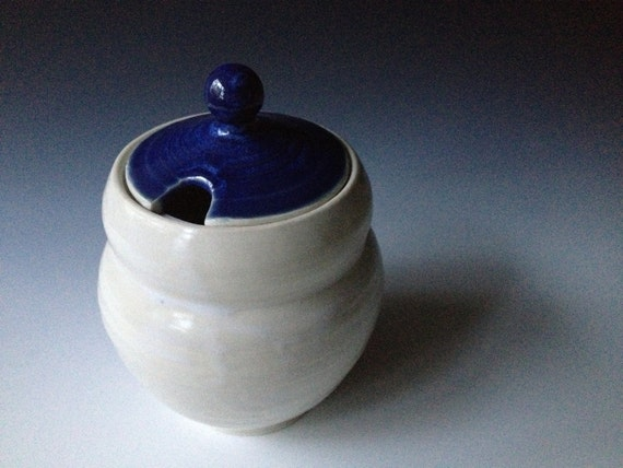 Honey Jar, Double Bubble White Body with Happy Blue Lid.