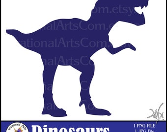 Dinosaur Silhouette T-Rex Navy Blue Digital Clipart - 1 png and 1 jpg files [ INSTANT DOWNLOAD ]