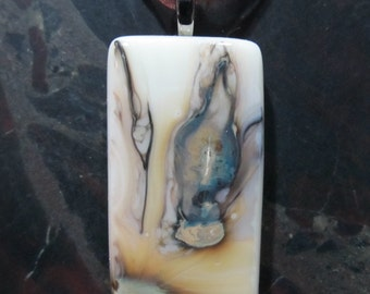 Fused Glass Pendant with ribbon necklace: A Whole New Reaction