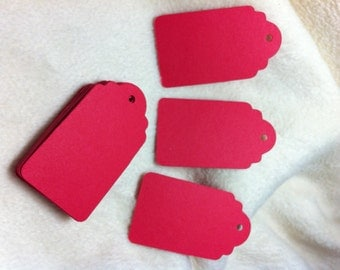 Scallop Hang Tags...25 Piece Set of Very Romantic Rose Red Scallop Scrapbook Hang Tags
