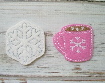 Cocoa and Snowflake Felt Appliques, Cup of Cocoa Felt Appliques, Embroidered Appliques, Winter Appliques, Felt Cocoa and Snowflake Appliques